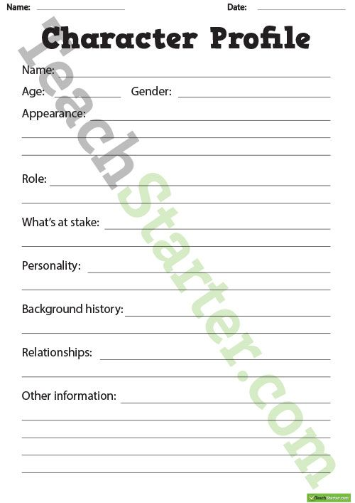 Detailed Character Profile Worksheet Teaching Resource