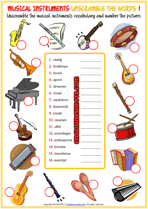 Musical Instruments Esl Unscramble The Words Worksheets