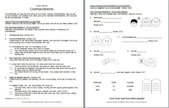 Bible Worksheet  Learn About God's Commandments  Free Printable