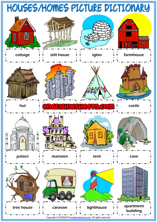Types Of Houses Picture Dictionary Esl Worksheet For Kids