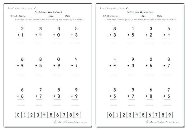 Addition With Zero Worksheets