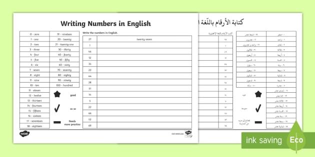 Writing Numbers In Words Worksheet