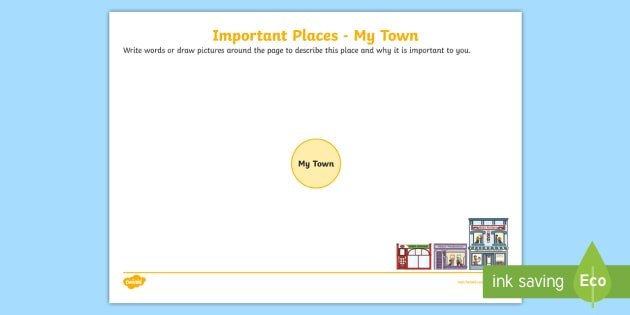Important Places  My Town Worksheet   Worksheet