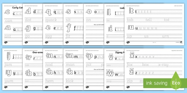 Letter Families And Cvc Words Handwriting Worksheet   Worksheet
