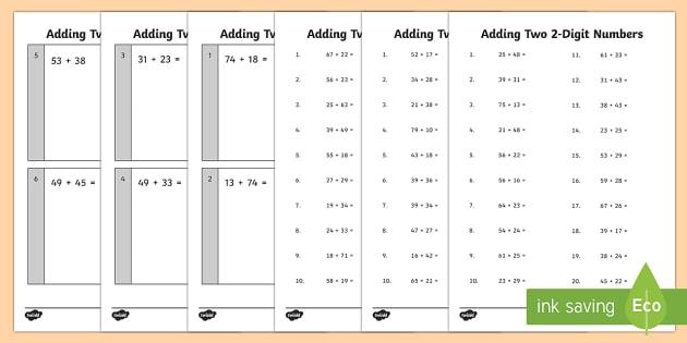 Adding Two 2 Digit Numbers Practice Worksheet   Worksheets