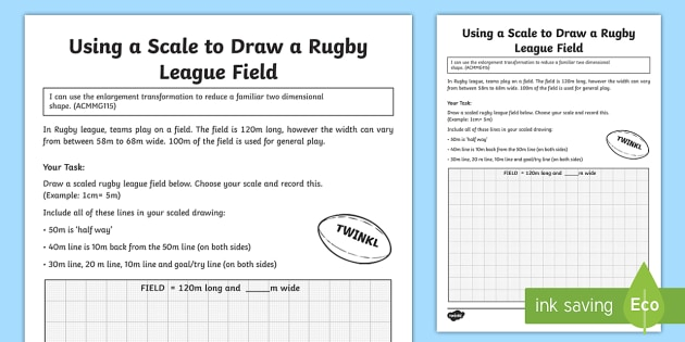 Using A Scale To Draw A Rugby League Field Worksheet   Worksheet
