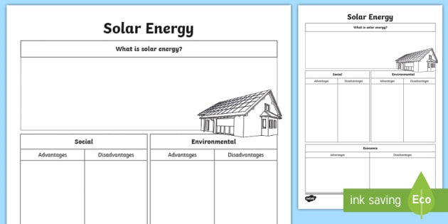 Solar Energy Research Worksheet   Worksheet