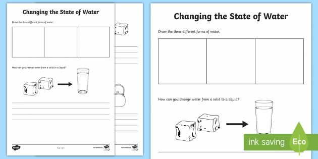 Changing Water Worksheet   Worksheet