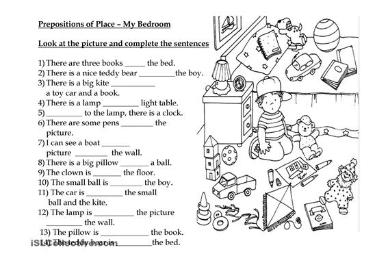 Worksheets  Prepositions Of Place – Show And Text