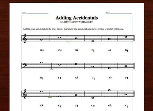 3 Accidentals Worksheets  Identifying Notes, Adding Accidentals