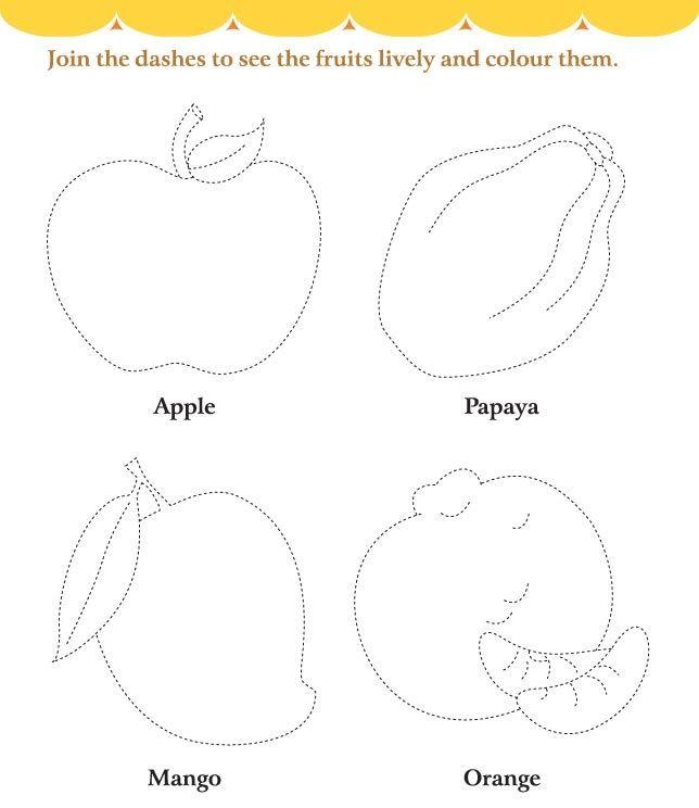 Fruits Trace Line Worksheet For Kids (3)
