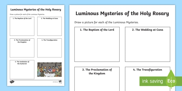 The Luminous Mysteries Of The Holy Rosary Worksheet   Worksheet