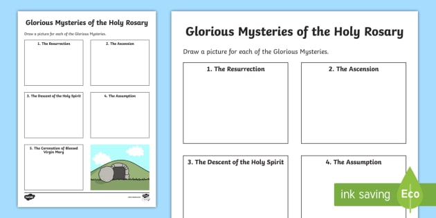 The Glorious Mysteries Of The Holy Rosary Worksheet   Worksheet