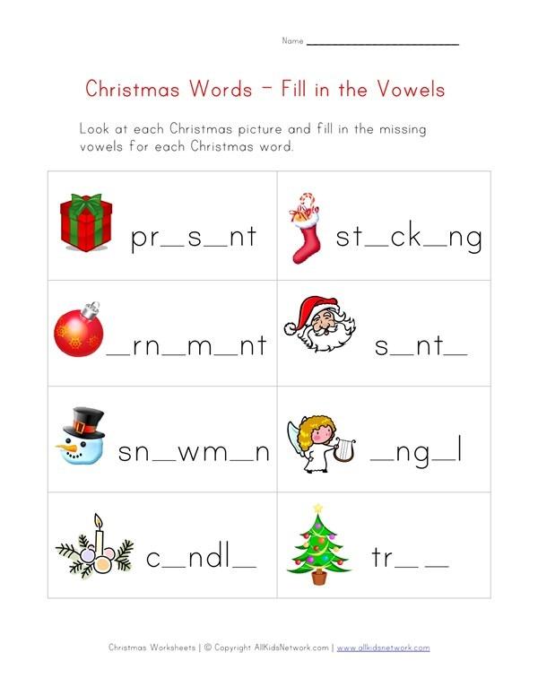 Christmas Word Worksheet For Kids