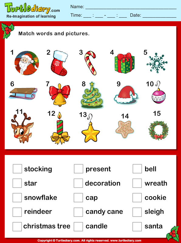 Christmas Vocabulary Words And Pictures Worksheet