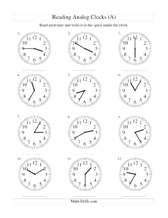 Clock Reading Math Free Printable Clock Worksheets For Grade