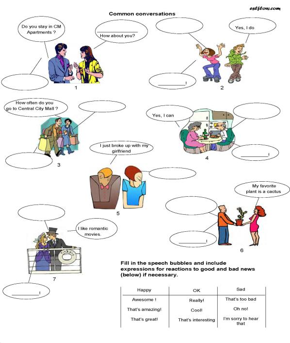 A Socializing & Common Conversations Worksheet For Esl Classes