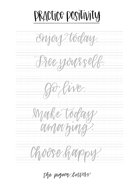 Free Practice Sheets Hand Lettering Positivity