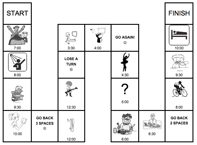 Daily Routine Board Game Worksheet