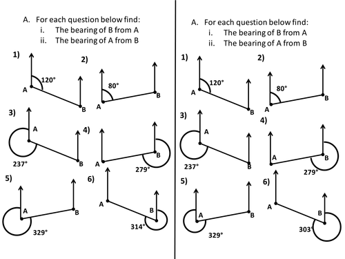 Bearings Worksheets