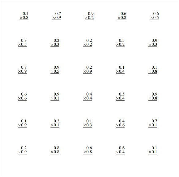 Sample Multiplying Decimals Vertical Worksheet
