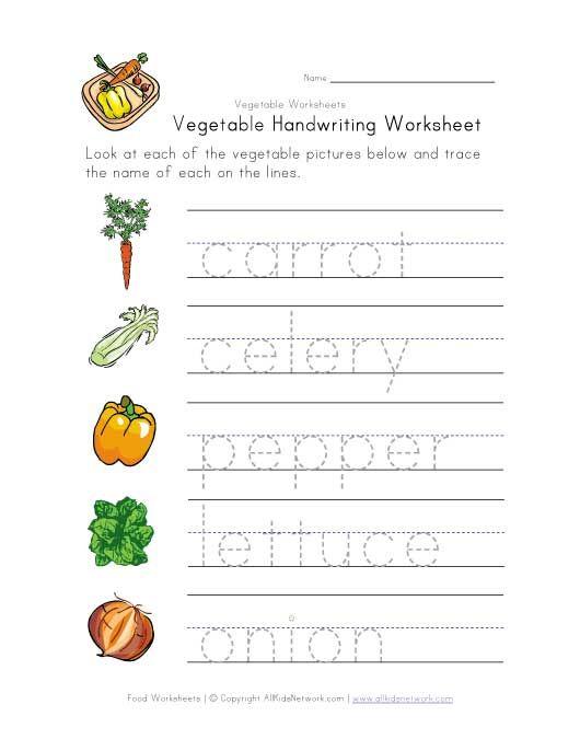 Vegetable Writing Worksheet