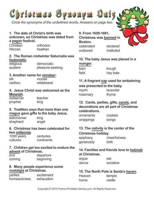 Christmas  Christmas Synonyms Worksheet Quiz
