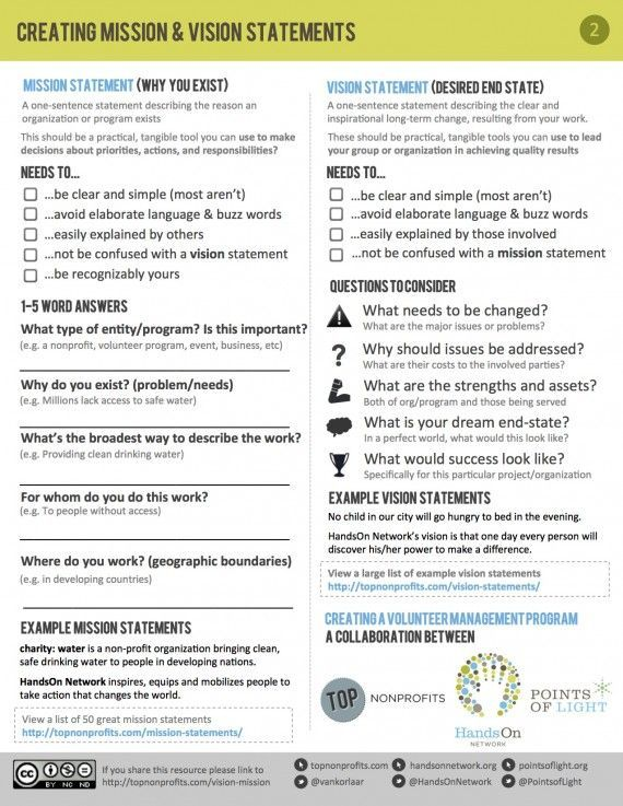 Free Worksheet To Help Nonprofits Develop A Mission And Vision
