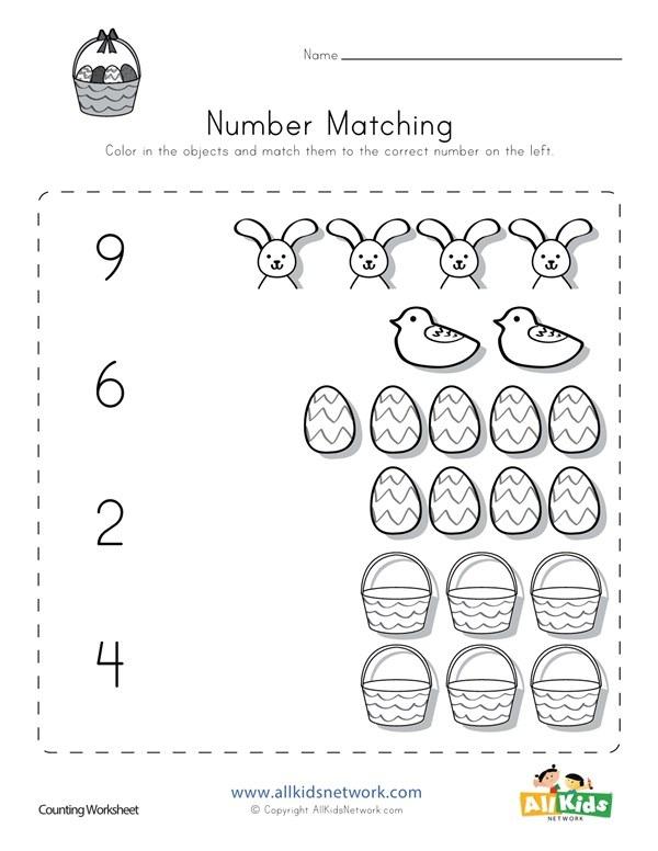 Easter Number Matching Worksheet