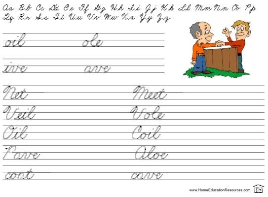Easy Review Worksheets – Printable Cursive & Manuscript