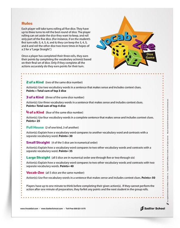 Two Printable Vocabulary Games For High School That You Will Want