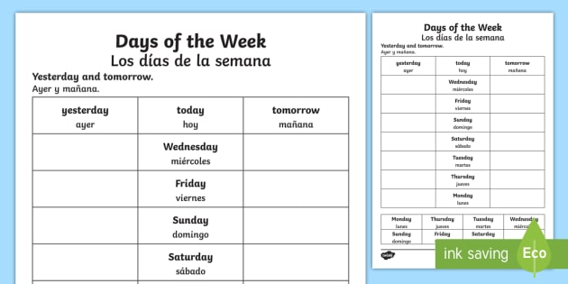 Days Of The Week Yesterday And Tomorrow Worksheet   Worksheet