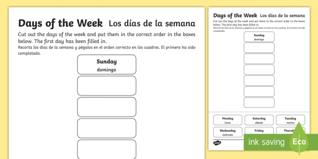 Days Of The Week Cut And Stick Worksheet   Worksheet English Spanish