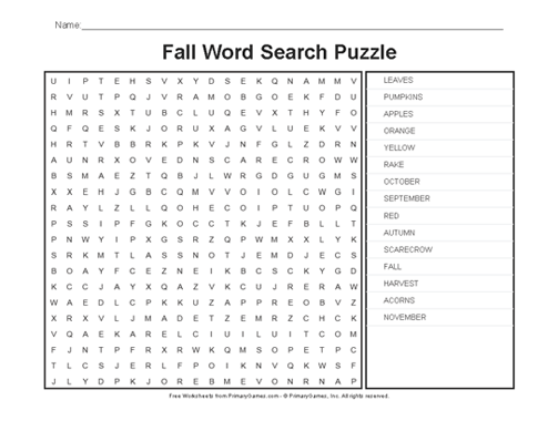Fall Worksheets  Fall Word Search Puzzle