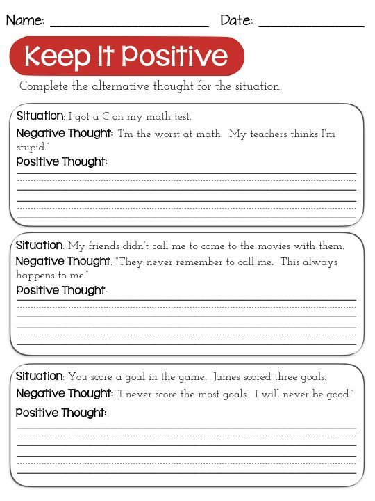 Challenging Negative Thinking Activities For Positive Self Talk