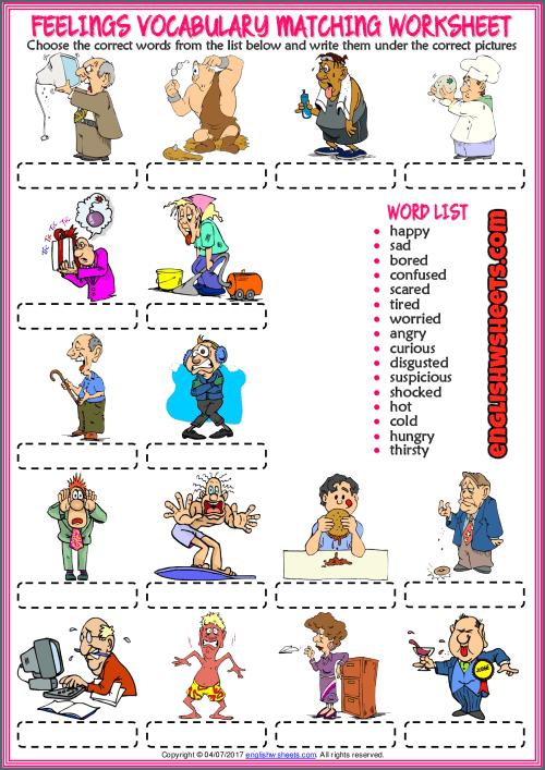 Feelings Vocabulary Matching Exercise Esl Worksheet