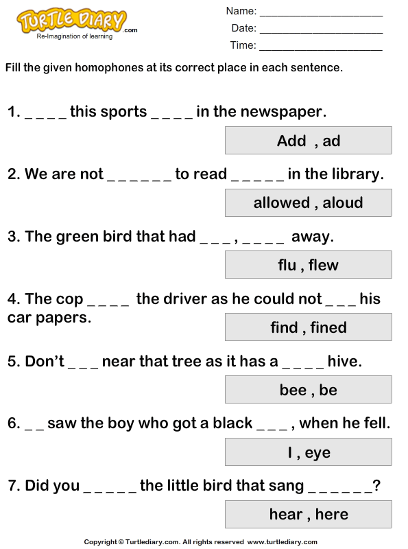 Fill In The Blanks With Homophones To Complete The Sentence