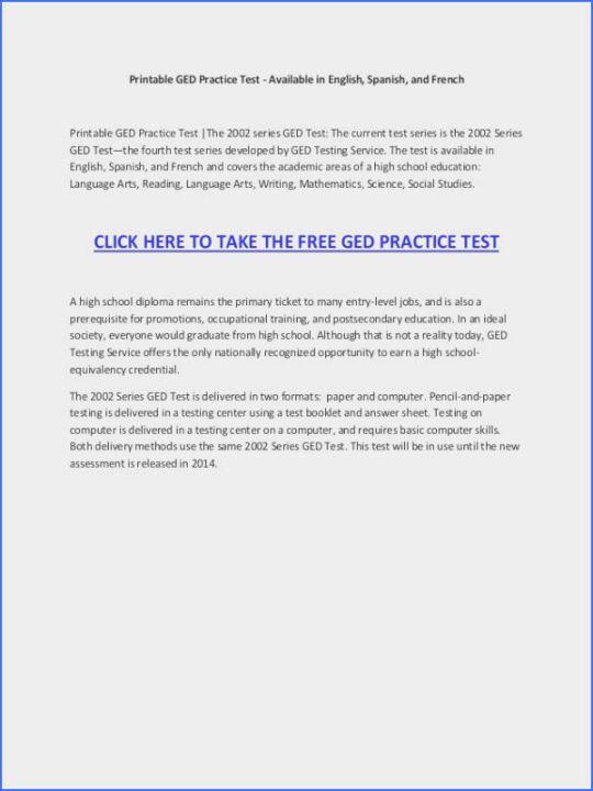 Clean Printable Ged Practice Test Pdf