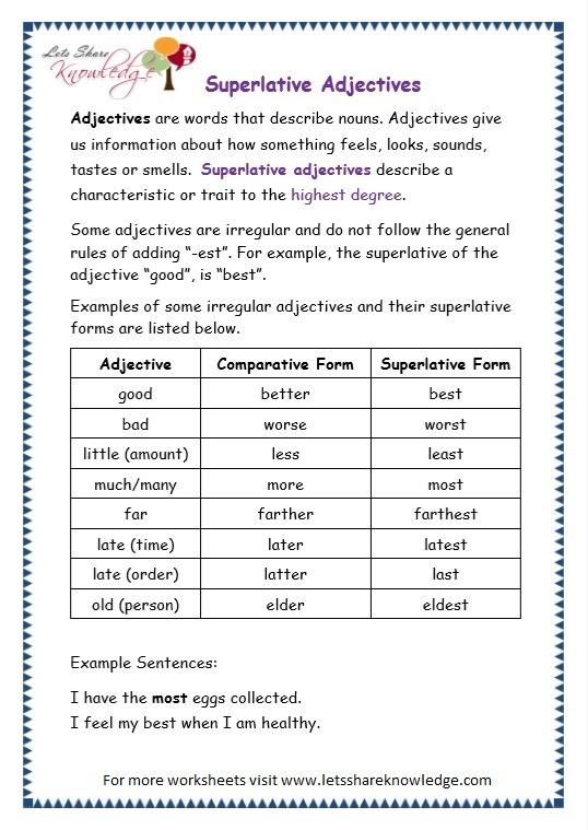 Grade 3 Grammar Topic 15  Superlative Adjectives Worksheets