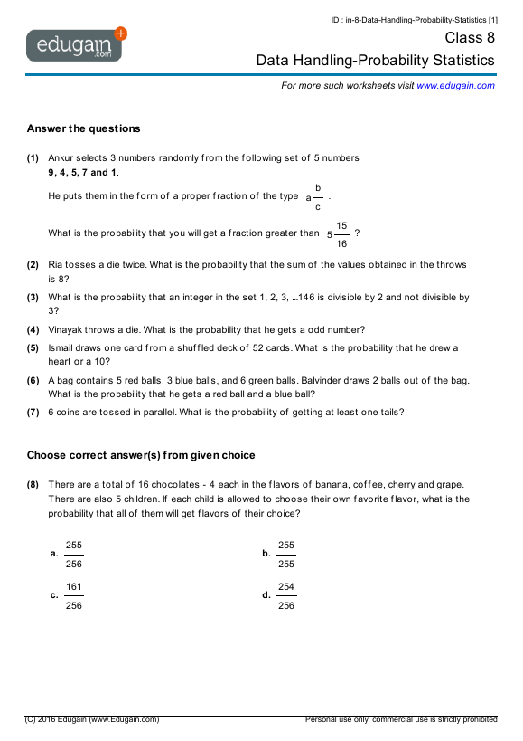 Grade 8 Math Worksheets And Problems  Data Handling