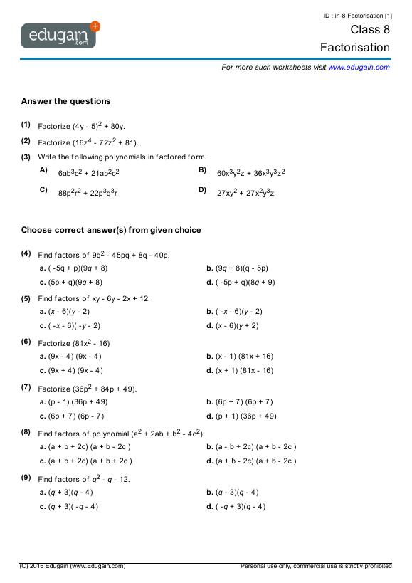Grade 8 Math Worksheets And Problems  Factorisation
