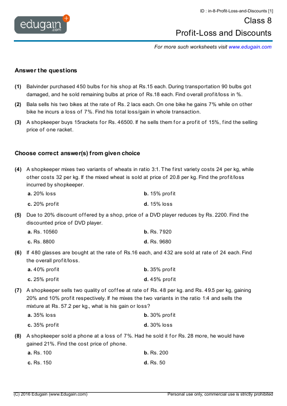 Grade 8 Math Worksheets And Problems  Profit