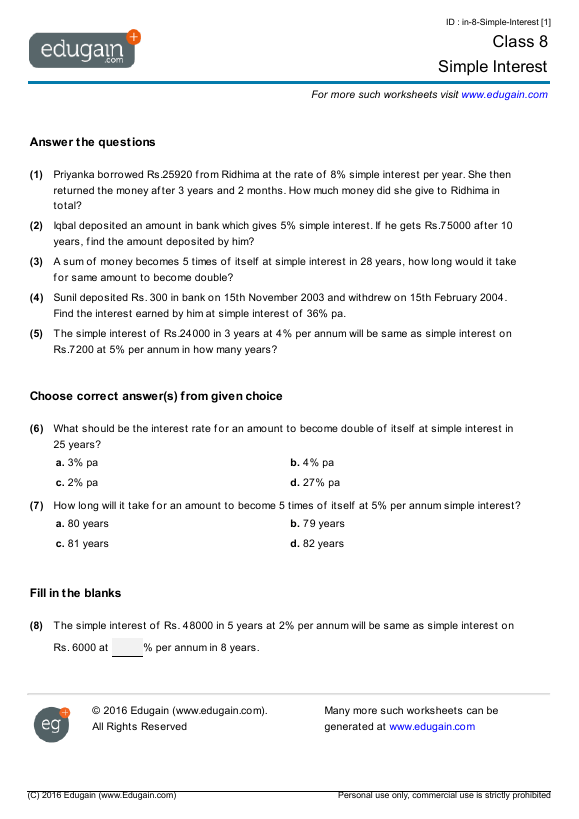 Grade 8 Math Worksheets And Problems  Simple Interest