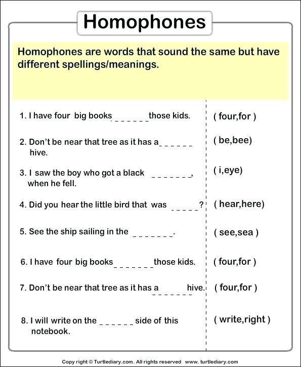 Homonyms Sentences Worksheets Spelling Worksheets Ideas Free