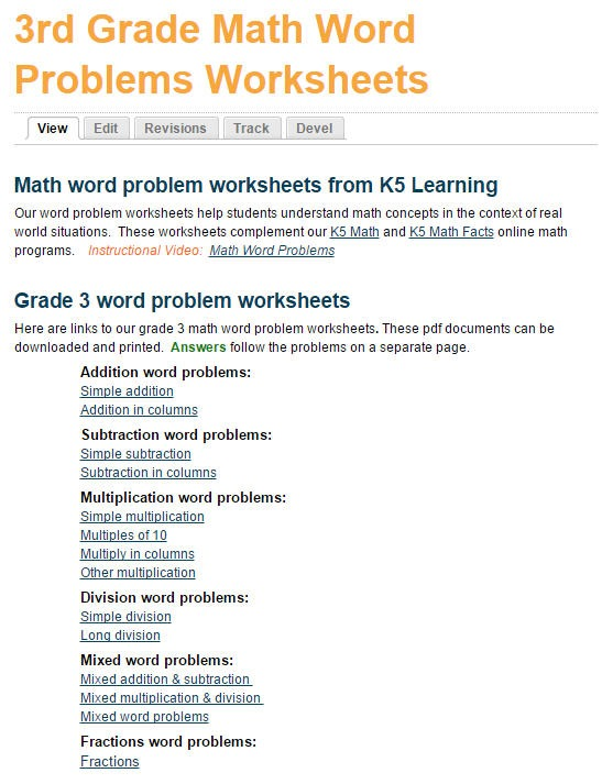 Math Word Problem Worksheets For Grade 3 Students