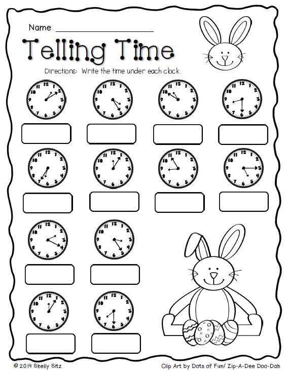 Math Worksheets For Teaching Time