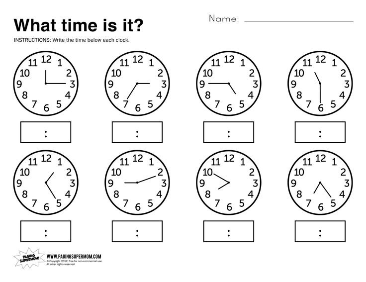 Math Worksheets On Time Free