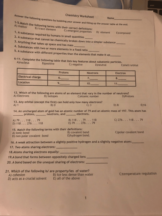 Solved  Chemistry Worksheet Answer The Following Questions