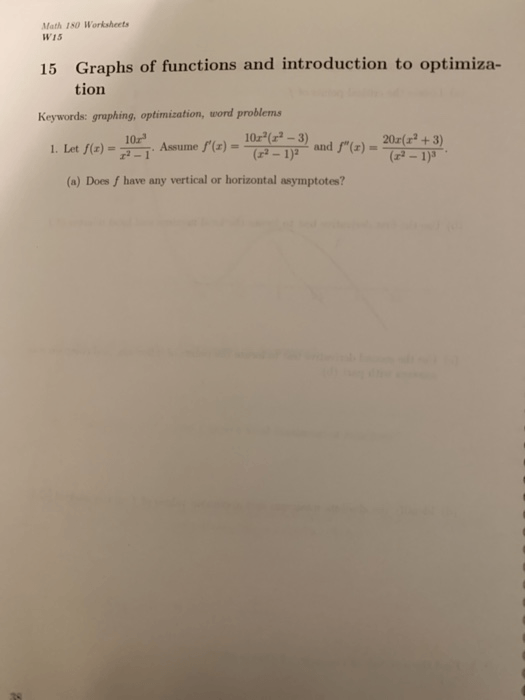 Solved  Math 180 Worksheets W15 15 Graphs Of Functions And
