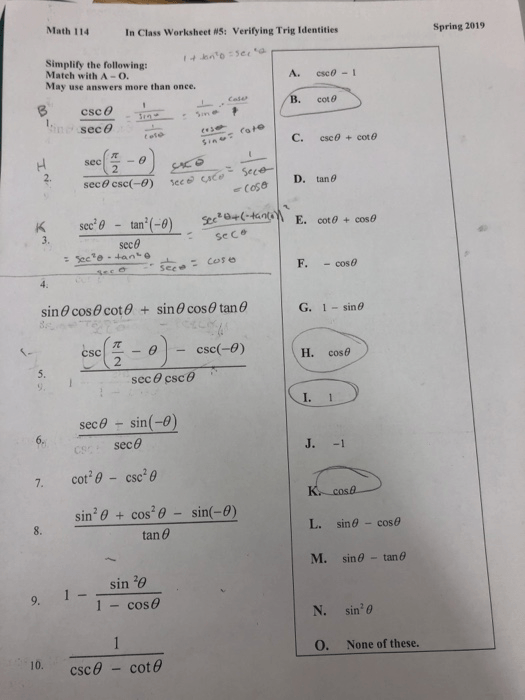 Solved  Math 114 In Class Worksheet Ws  Verifying Trig Ide